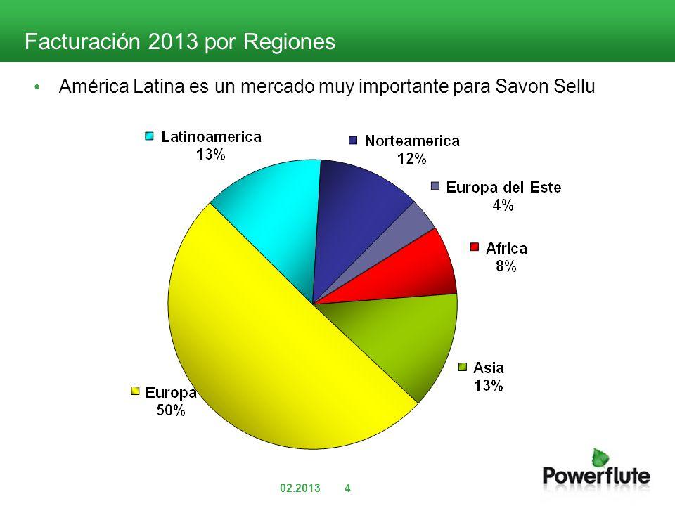02.20134 Facturación 2013 por Regiones América Latina es un mercado muy importante para Savon Sellu