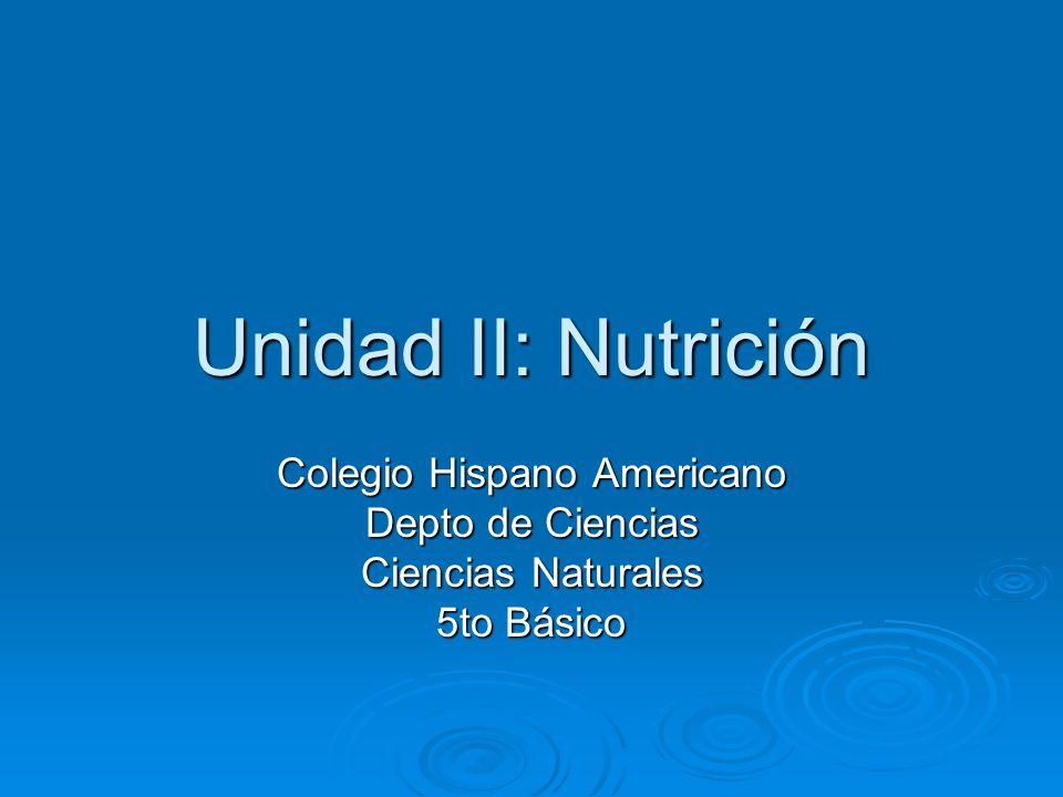 Unidad II: Nutrición Colegio Hispano Americano Depto de Ciencias Ciencias Naturales 5to Básico