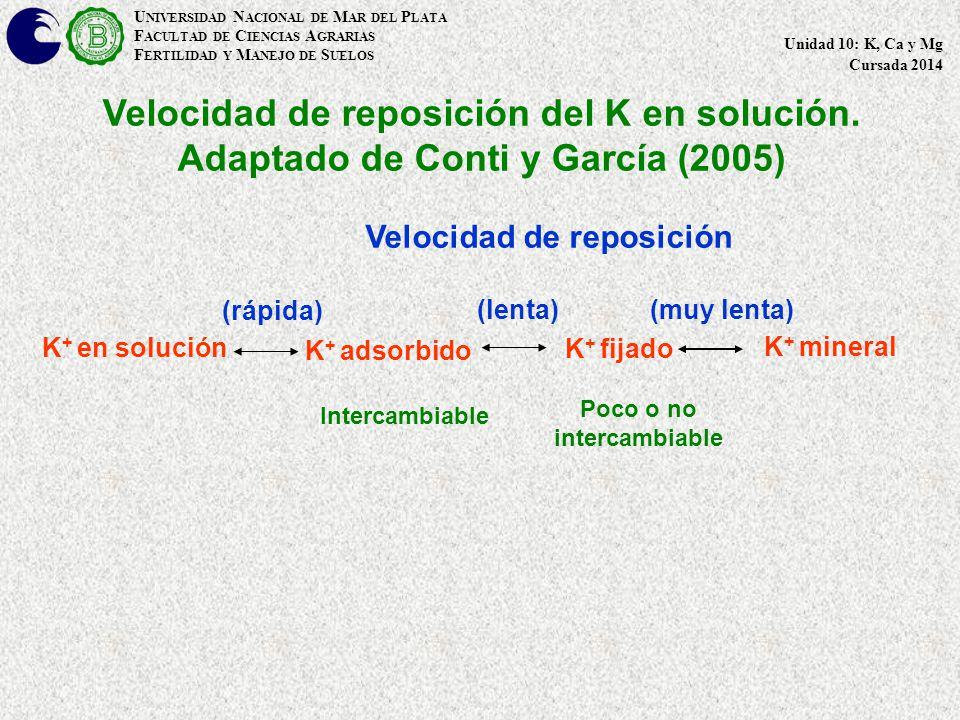 Velocidad de reposición del K en solución.