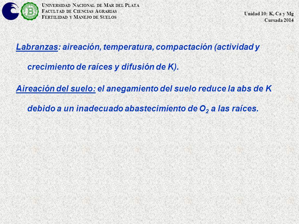 Labranzas: aireación, temperatura, compactación (actividad y crecimiento de raíces y difusión de K).