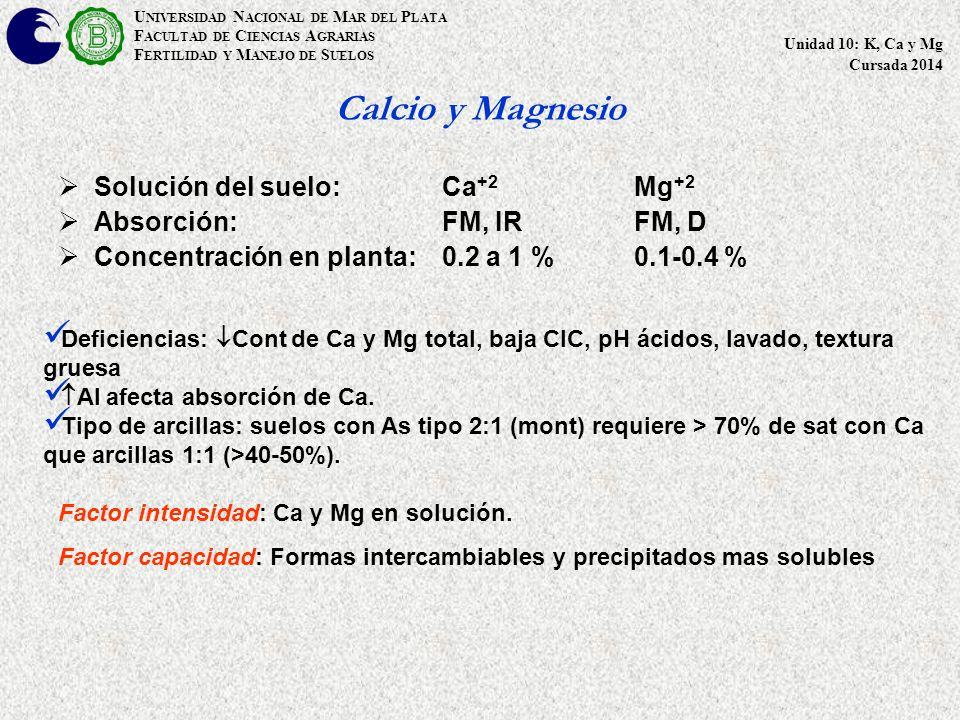 Calcio y Magnesio  Solución del suelo: Ca +2 Mg +2  Absorción:FM, IRFM, D  Concentración en planta:0.2 a 1 %0.1-0.4 % U NIVERSIDAD N ACIONAL DE M AR DEL P LATA F ACULTAD DE C IENCIAS A GRARIAS F ERTILIDAD Y M ANEJO DE S UELOS Unidad 10: K, Ca y Mg Cursada 2014 Deficiencias:  Cont de Ca y Mg total, baja CIC, pH ácidos, lavado, textura gruesa  Al afecta absorción de Ca.
