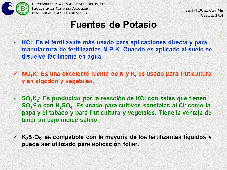 Fuentes de Potasio KCl: Es el fertilizante más usado para aplicaciones directa y para manufactura de fertilizantes N-P-K.