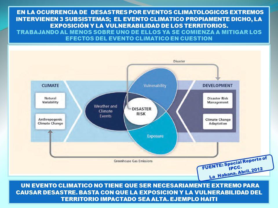 EN LA OCURRENCIA DE DESASTRES POR EVENTOS CLIMATOLOGICOS EXTREMOS INTERVIENEN 3 SUBSISTEMAS; EL EVENTO CLIMATICO PROPIAMENTE DICHO, LA EXPOSICIÓN Y LA VULNERABILIDAD DE LOS TERRITORIOS.