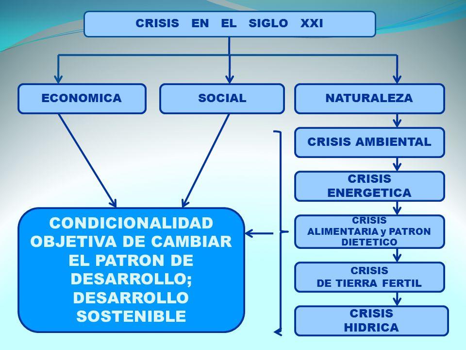 CRISIS EN EL SIGLO XXI ECONOMICASOCIALNATURALEZA CRISIS AMBIENTAL CRISIS ENERGETICA CRISIS ALIMENTARIA y PATRON DIETETICO CRISIS DE TIERRA FERTIL CRISIS HIDRICA CONDICIONALIDAD OBJETIVA DE CAMBIAR EL PATRON DE DESARROLLO; DESARROLLO SOSTENIBLE