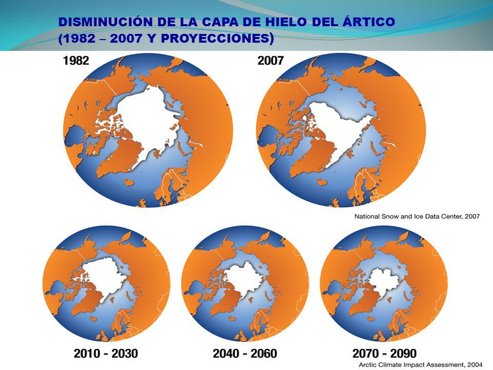DISMINUCIÓN DE LA CAPA DE HIELO DEL ÁRTICO (1982 – 2007 Y PROYECCIONES )