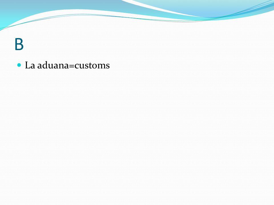 B La aduana=customs