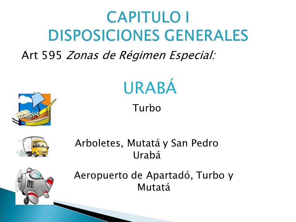 Art 595 Zonas de Régimen Especial: URABÁ Turbo Arboletes, Mutatá y San Pedro Urabá Aeropuerto de Apartadó, Turbo y Mutatá