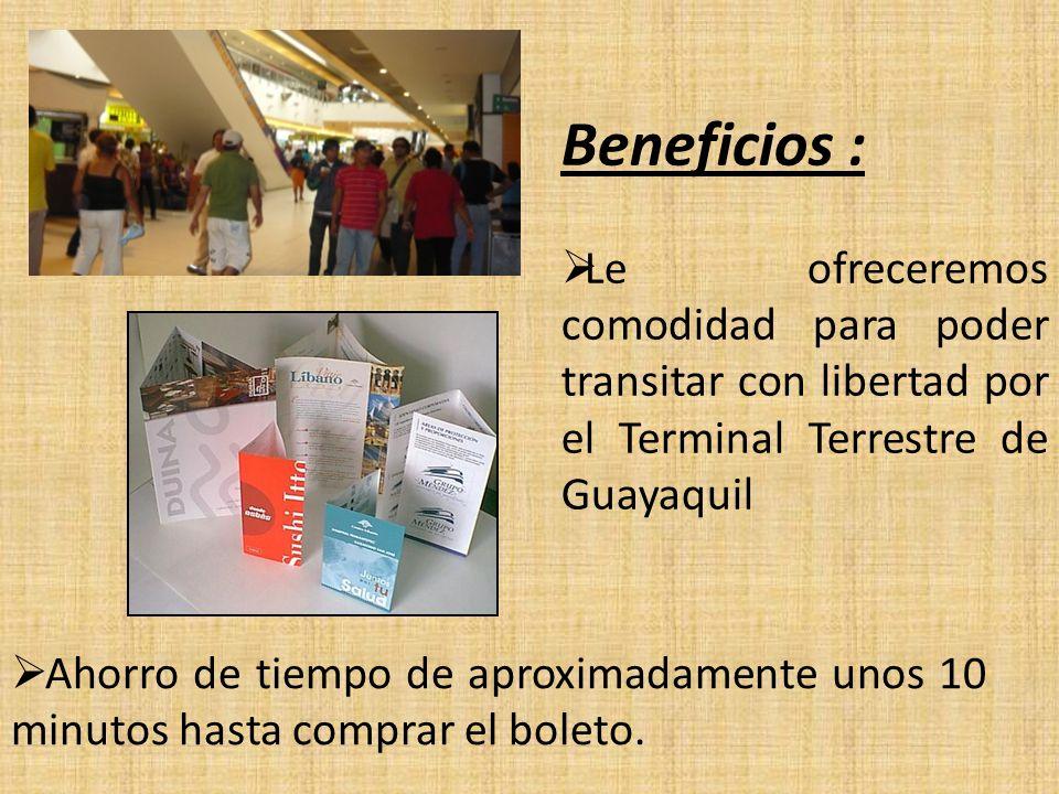 Beneficios :  Le ofreceremos comodidad para poder transitar con libertad por el Terminal Terrestre de Guayaquil  Ahorro de tiempo de aproximadamente unos 10 minutos hasta comprar el boleto.