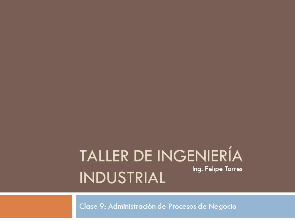 TALLER DE INGENIERÍA INDUSTRIAL Clase 9: Administración de Procesos de Negocio Ing. Felipe Torres