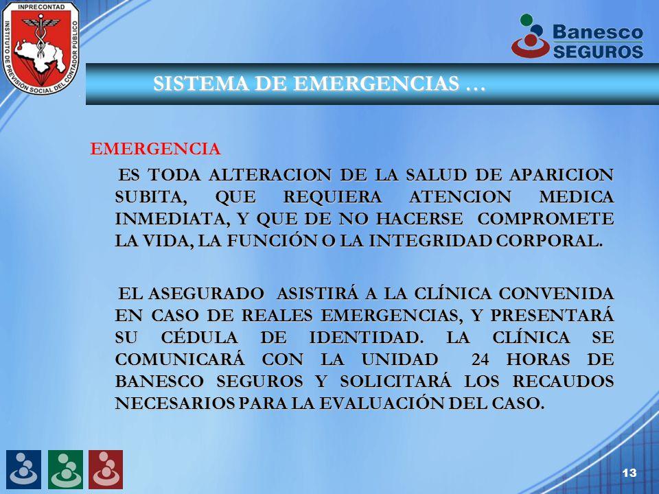 13 SISTEMA DE EMERGENCIAS … SISTEMA DE EMERGENCIAS … EMERGENCIA ES TODA ALTERACION DE LA SALUD DE APARICION SUBITA, QUE REQUIERA ATENCION MEDICA INMEDIATA, Y QUE DE NO HACERSE COMPROMETE LA VIDA, LA FUNCIÓN O LA INTEGRIDAD CORPORAL.