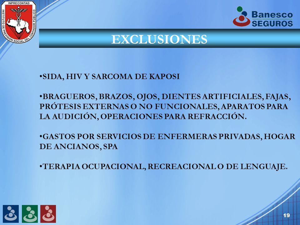 19 EXCLUSIONES SIDA, HIV Y SARCOMA DE KAPOSI BRAGUEROS, BRAZOS, OJOS, DIENTES ARTIFICIALES, FAJAS, PRÓTESIS EXTERNAS O NO FUNCIONALES, APARATOS PARA LA AUDICIÓN, OPERACIONES PARA REFRACCIÓN.