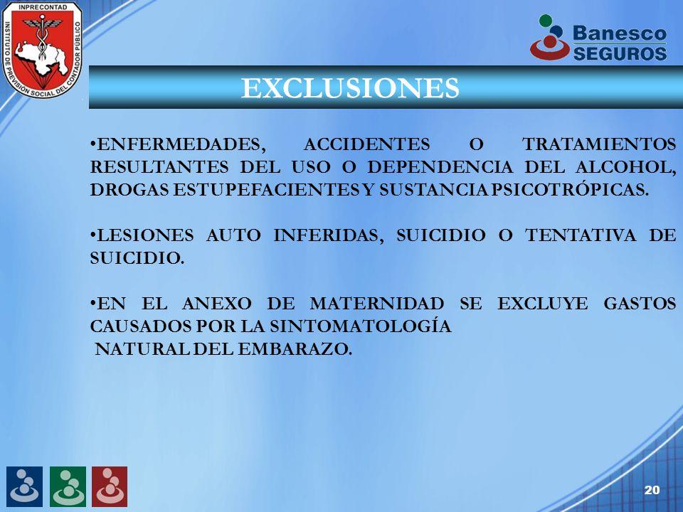 20 EXCLUSIONES ENFERMEDADES, ACCIDENTES O TRATAMIENTOS RESULTANTES DEL USO O DEPENDENCIA DEL ALCOHOL, DROGAS ESTUPEFACIENTES Y SUSTANCIA PSICOTRÓPICAS.