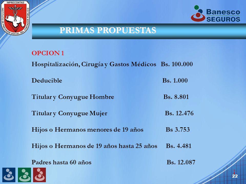 22 PRIMAS PROPUESTAS OPCION 1 Hospitalización, Cirugía y Gastos Médicos Bs.