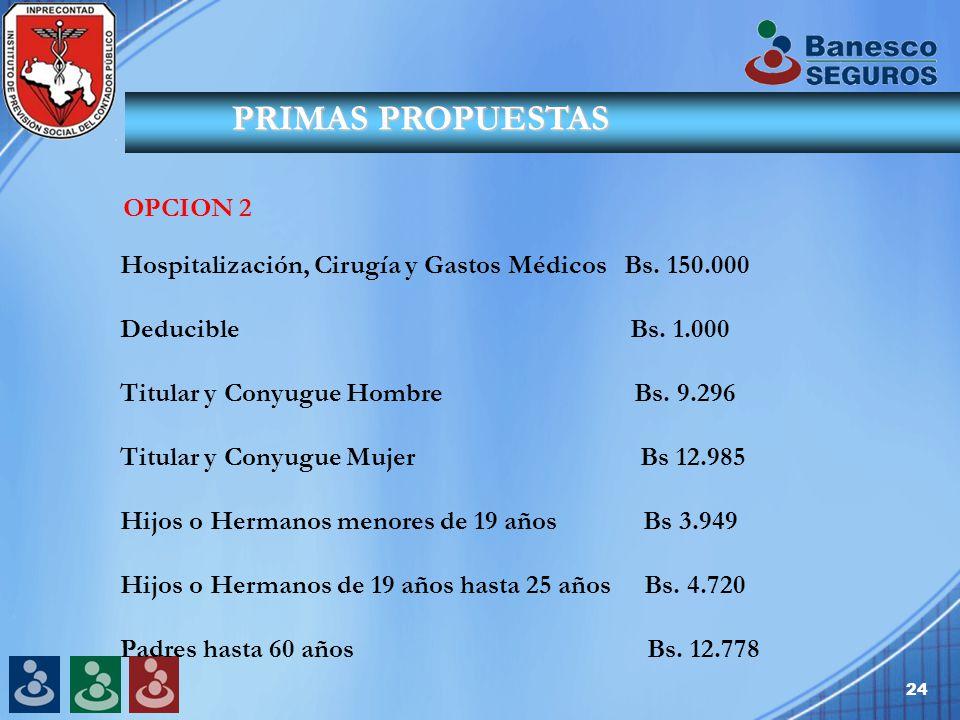 24 PRIMAS PROPUESTAS OPCION 2 Hospitalización, Cirugía y Gastos Médicos Bs.