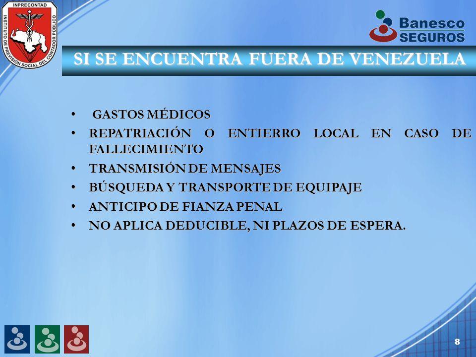 8 GASTOS MÉDICOS GASTOS MÉDICOS REPATRIACIÓN O ENTIERRO LOCAL EN CASO DE FALLECIMIENTOREPATRIACIÓN O ENTIERRO LOCAL EN CASO DE FALLECIMIENTO TRANSMISIÓN DE MENSAJESTRANSMISIÓN DE MENSAJES BÚSQUEDA Y TRANSPORTE DE EQUIPAJEBÚSQUEDA Y TRANSPORTE DE EQUIPAJE ANTICIPO DE FIANZA PENALANTICIPO DE FIANZA PENAL NO APLICA DEDUCIBLE, NI PLAZOS DE ESPERA.NO APLICA DEDUCIBLE, NI PLAZOS DE ESPERA.