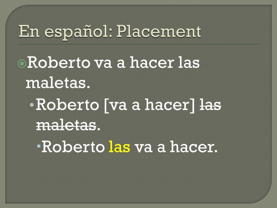  Roberto va a hacer las maletas. Roberto [va a hacer] las maletas.  Roberto las va a hacer.