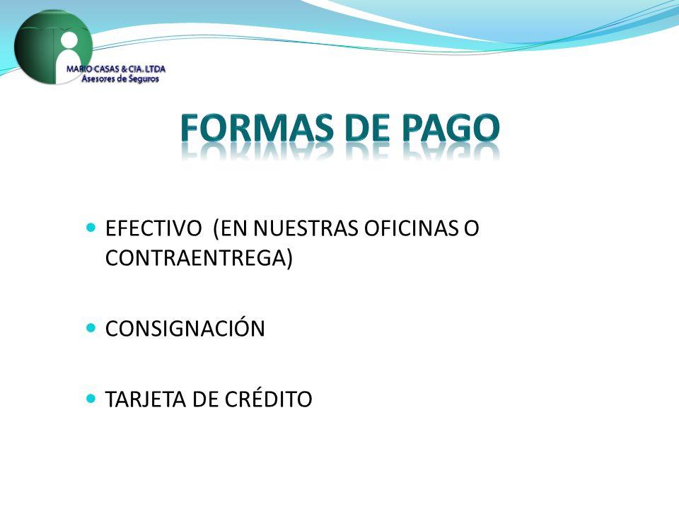 EFECTIVO (EN NUESTRAS OFICINAS O CONTRAENTREGA) CONSIGNACIÓN TARJETA DE CRÉDITO