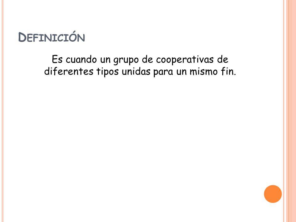 D EFINICI Ó N Es cuando un grupo de cooperativas de diferentes tipos unidas para un mismo fin.