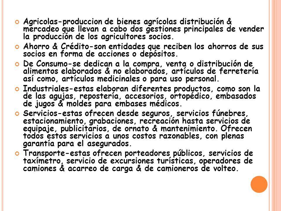 Agricolas-produccion de bienes agrícolas distribución & mercadeo que llevan a cabo dos gestiones principales de vender la producción de los agricultores socios.
