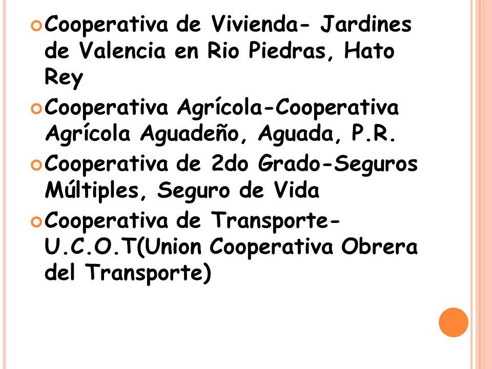 Cooperativa de Vivienda- Jardines de Valencia en Rio Piedras, Hato Rey Cooperativa Agrícola-Cooperativa Agrícola Aguadeño, Aguada, P.R.