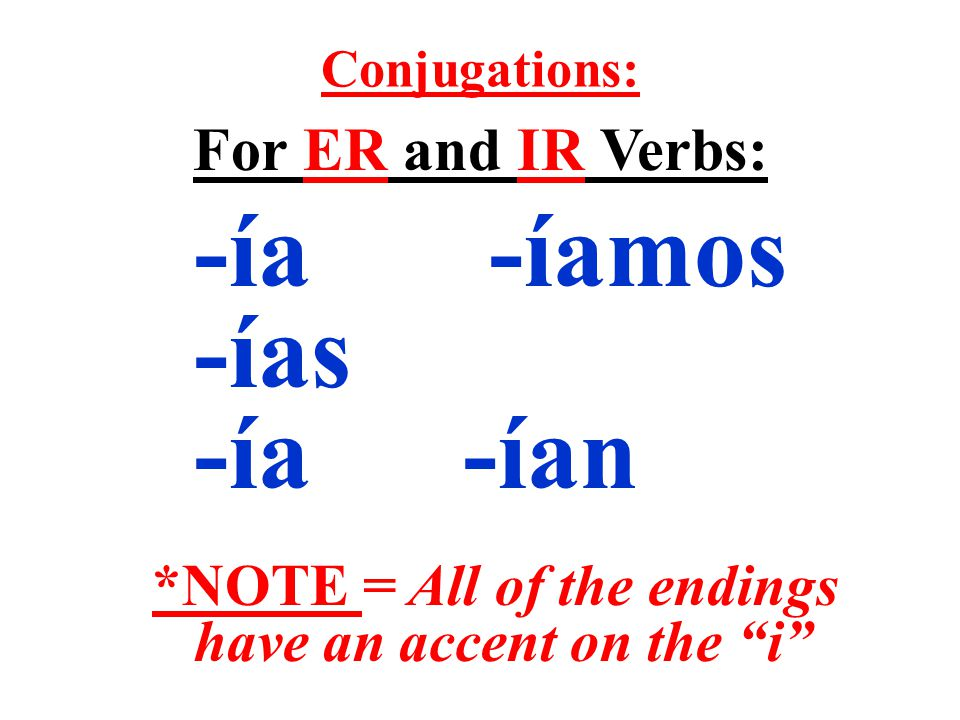 Conjugations: For ER and IR Verbs: -ía -íamos -ías -ía -ían *NOTE = All of the endings have an accent on the i