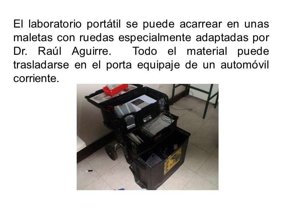 El laboratorio portátil se puede acarrear en unas maletas con ruedas especialmente adaptadas por Dr.