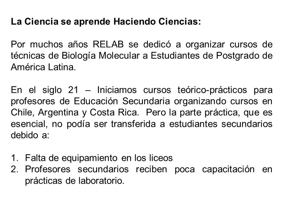 La Ciencia se aprende Haciendo Ciencias: Por muchos años RELAB se dedicó a organizar cursos de técnicas de Biología Molecular a Estudiantes de Postgrado de América Latina.