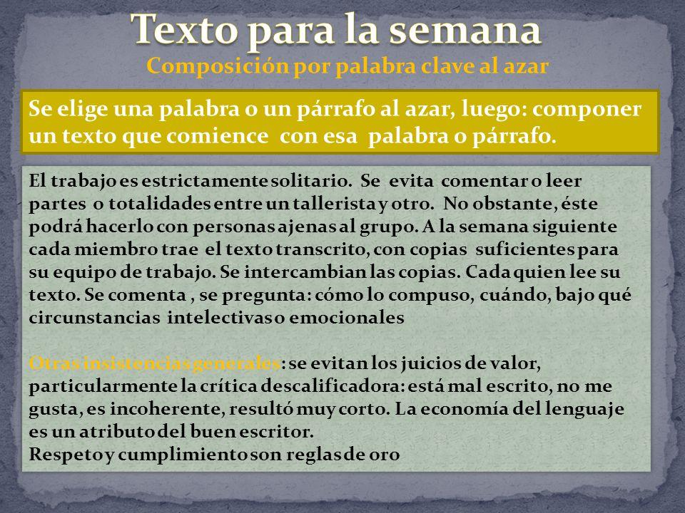 Composición por palabra clave al azar Se elige una palabra o un párrafo al azar, luego: componer un texto que comience con esa palabra o párrafo.
