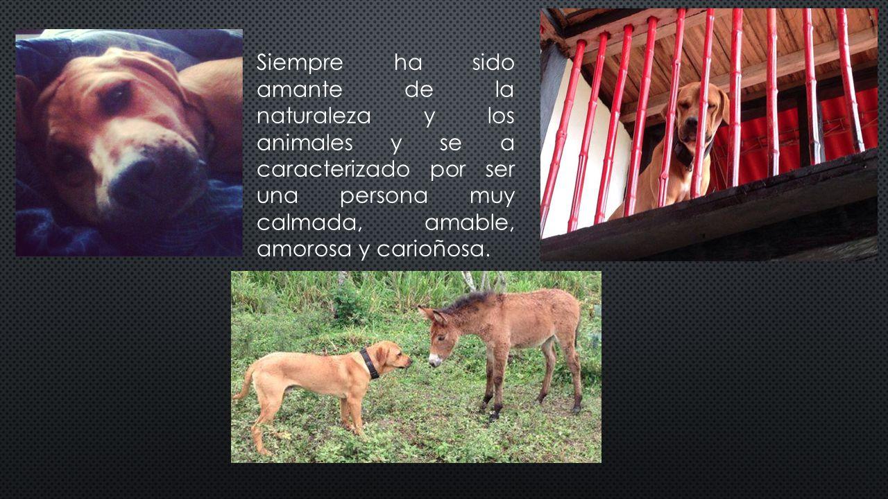 Siempre ha sido amante de la naturaleza y los animales y se a caracterizado por ser una persona muy calmada, amable, amorosa y carioñosa.