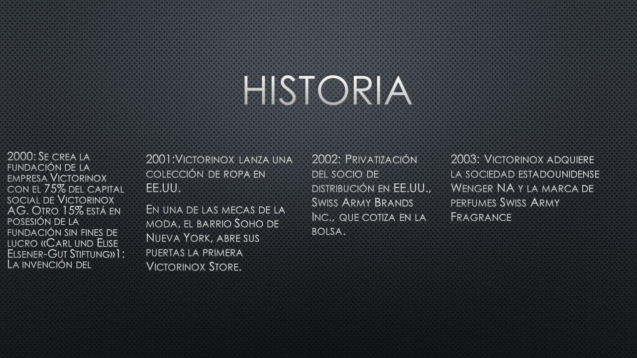 2000: S E CREA LA FUNDACIÓN DE LA EMPRESA V ICTORINOX CON EL 75% DEL CAPITAL SOCIAL DE V ICTORINOX AG.