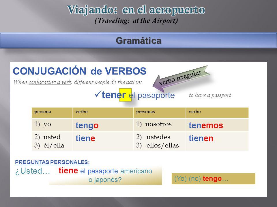 Gramática CONJUGACIÓN de VERBOS When conjugating a verb, different people do the action: to have a passport tiene el pasaporte americano o japonés.