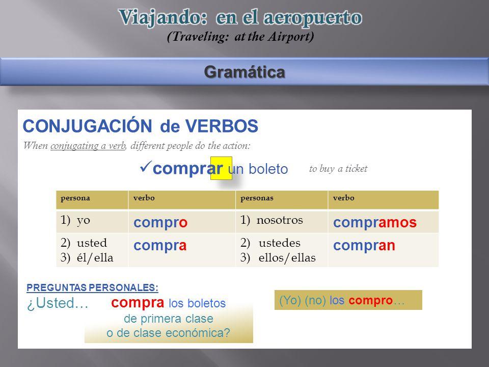 Gramática CONJUGACIÓN de VERBOS When conjugating a verb, different people do the action: to buy a ticket compra los boletos de primera clase o de clase económica.