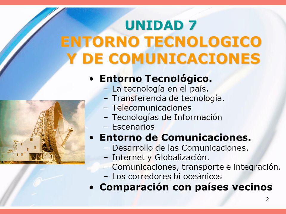 2 UNIDAD 7 ENTORNO TECNOLOGICO Y DE COMUNICACIONES Entorno Tecnológico.