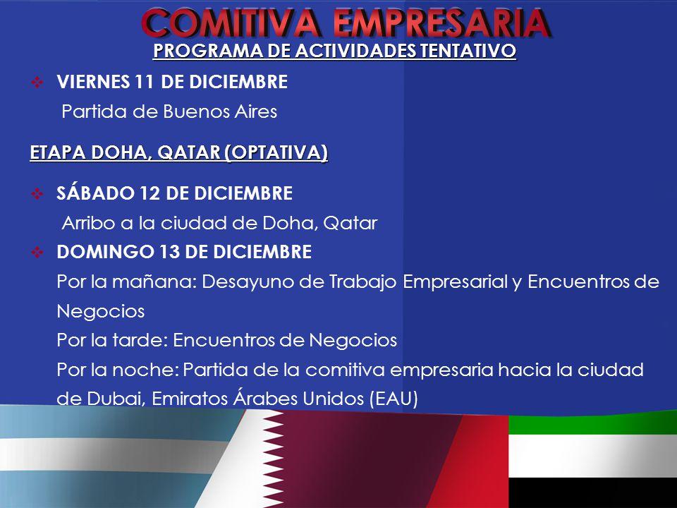  VIERNES 11 DE DICIEMBRE Partida de Buenos Aires ETAPA DOHA, QATAR (OPTATIVA)  SÁBADO 12 DE DICIEMBRE Arribo a la ciudad de Doha, Qatar  DOMINGO 13 DE DICIEMBRE Por la mañana: Desayuno de Trabajo Empresarial y Encuentros de Negocios Por la tarde: Encuentros de Negocios Por la noche: Partida de la comitiva empresaria hacia la ciudad de Dubai, Emiratos Árabes Unidos (EAU) PROGRAMA DE ACTIVIDADES TENTATIVO