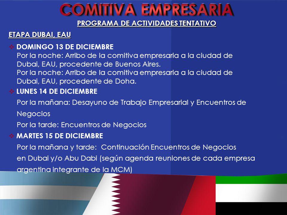 ETAPA DUBAI, EAU  DOMINGO 13 DE DICIEMBRE Por la noche: Arribo de la comitiva empresaria a la ciudad de Dubai, EAU, procedente de Buenos Aires.