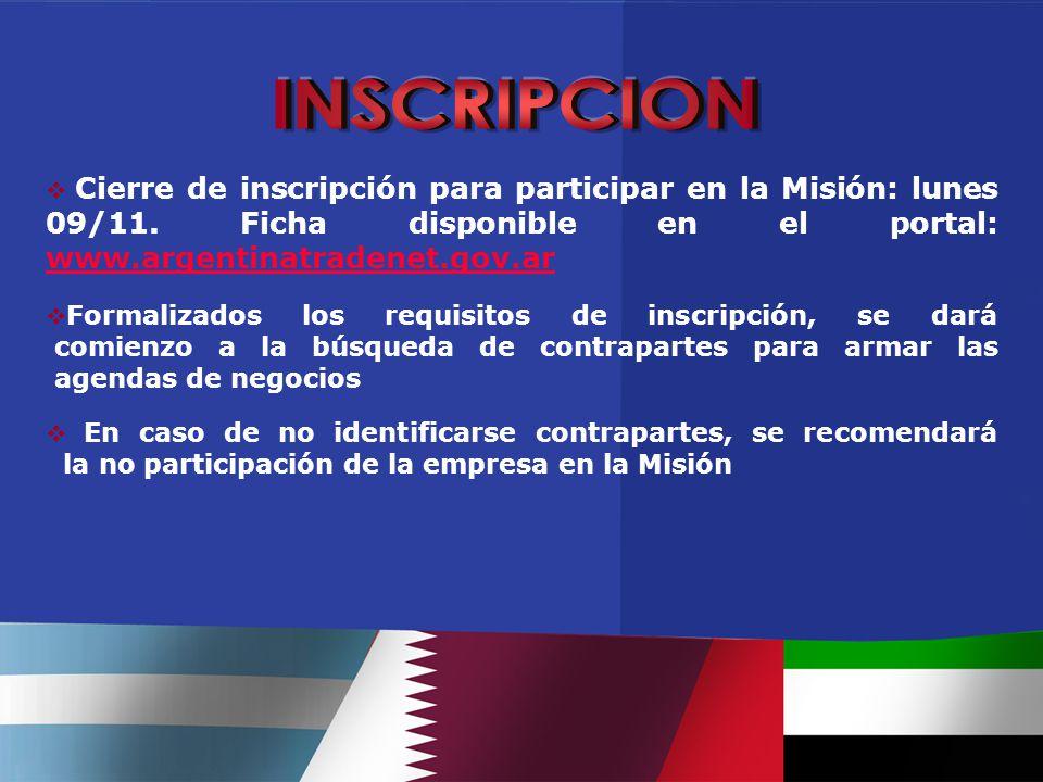  Cierre de inscripción para participar en la Misión: lunes 09/11.