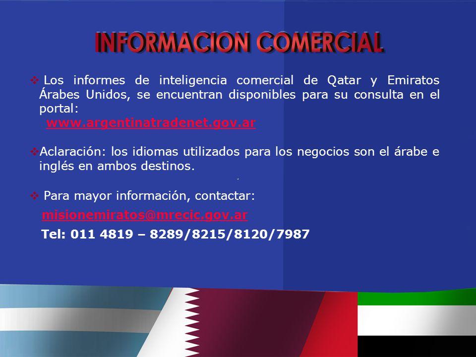  Los informes de inteligencia comercial de Qatar y Emiratos Árabes Unidos, se encuentran disponibles para su consulta en el portal: www.argentinatradenet.gov.ar  Aclaración: los idiomas utilizados para los negocios son el árabe e inglés en ambos destinos.