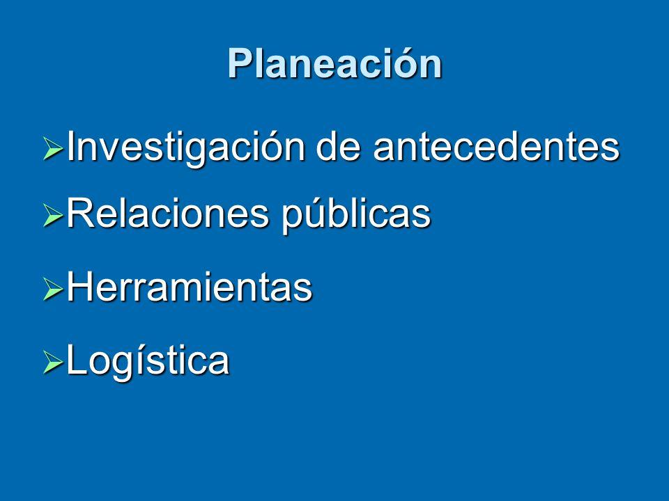 Planeación  Investigación de antecedentes  Relaciones públicas  Herramientas  Logística