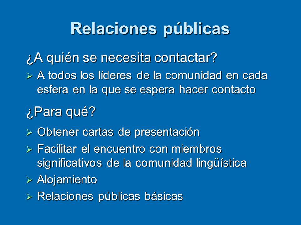 Relaciones públicas ¿A quién se necesita contactar.
