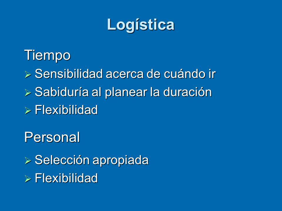 Logística Tiempo  Sensibilidad acerca de cuándo ir  Sabiduría al planear la duración  Flexibilidad Personal  Selección apropiada  Flexibilidad