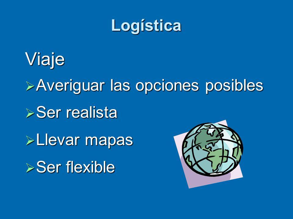 Logística Viaje  Averiguar las opciones posibles  Ser realista  Llevar mapas  Ser flexible