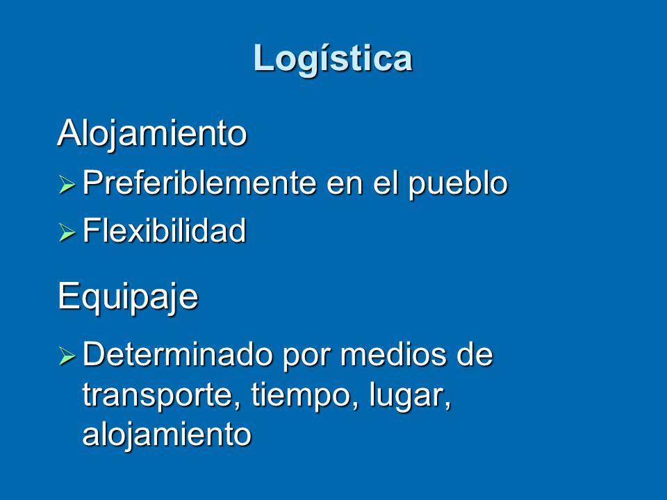 Logística Alojamiento  Preferiblemente en el pueblo  Flexibilidad Equipaje  Determinado por medios de transporte, tiempo, lugar, alojamiento