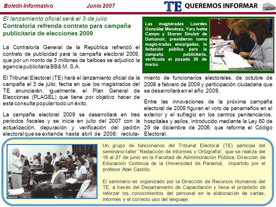 Un grupo de funcionarios del Tribunal Electoral (TE) participa del seminario-taller Redacción de Informes y Ortografía , que se realiza del 18 al 27 de junio en la Facultad de Administración Pública, Dirección de Educación Continua de la Universidad de Panamá, impartido por el profesor Abel Castillo.