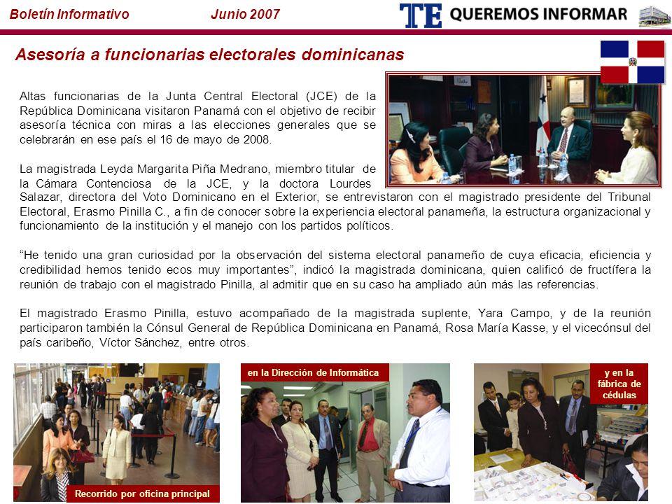 Altas funcionarias de la Junta Central Electoral (JCE) de la República Dominicana visitaron Panamá con el objetivo de recibir asesoría técnica con miras a las elecciones generales que se celebrarán en ese país el 16 de mayo de 2008.