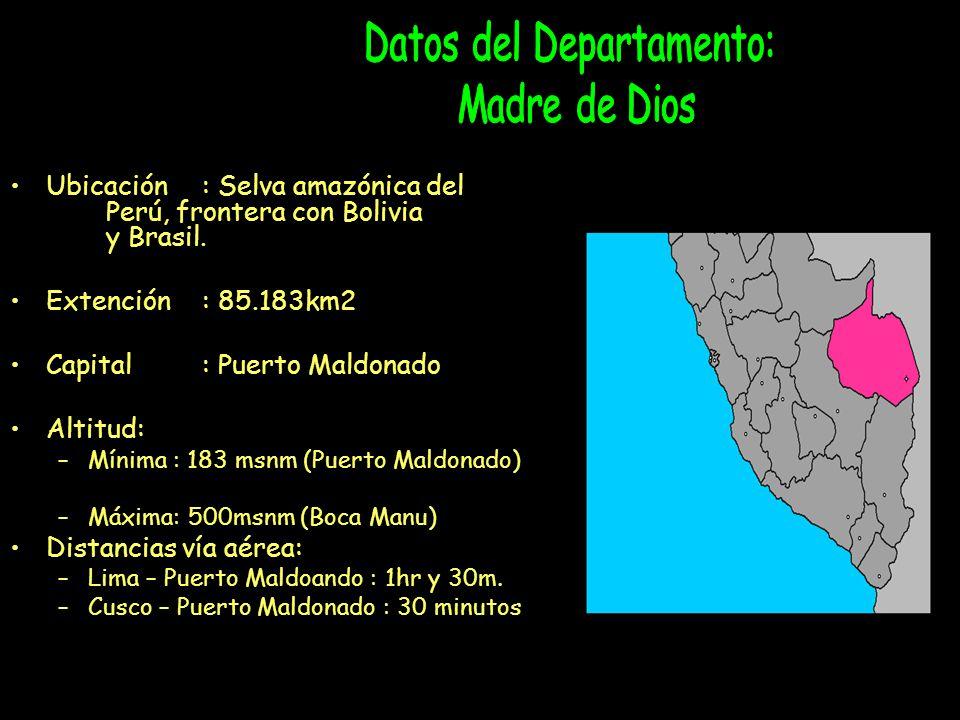 Ubicación: Selva amazónica del Perú, frontera con Bolivia y Brasil.