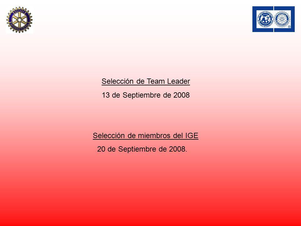 Selección de Team Leader 13 de Septiembre de 2008 Selección de miembros del IGE 20 de Septiembre de 2008.