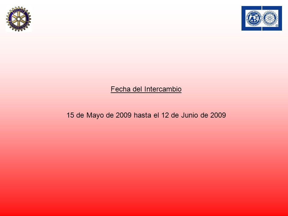 Fecha del Intercambio 15 de Mayo de 2009 hasta el 12 de Junio de 2009