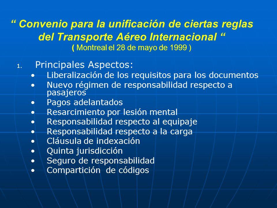 Convenio para la unificación de ciertas reglas del Transporte Aéreo Internacional ( Montreal el 28 de mayo de 1999 ) 1.