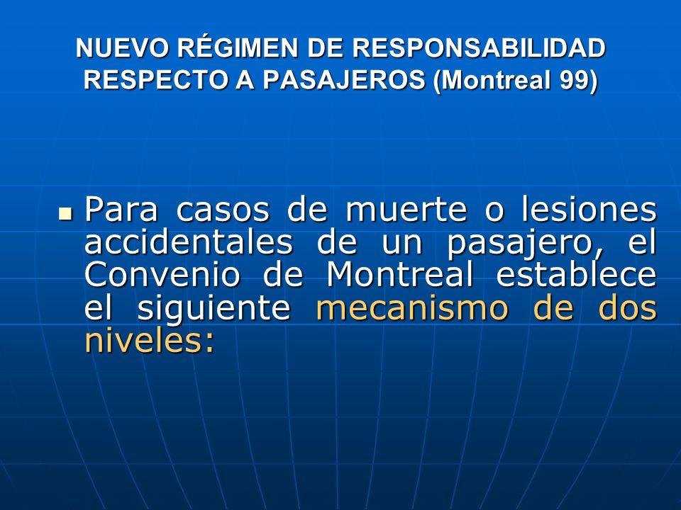 NUEVO RÉGIMEN DE RESPONSABILIDAD RESPECTO A PASAJEROS (Montreal 99) Para casos de muerte o lesiones accidentales de un pasajero, el Convenio de Montreal establece el siguiente mecanismo de dos niveles: Para casos de muerte o lesiones accidentales de un pasajero, el Convenio de Montreal establece el siguiente mecanismo de dos niveles: