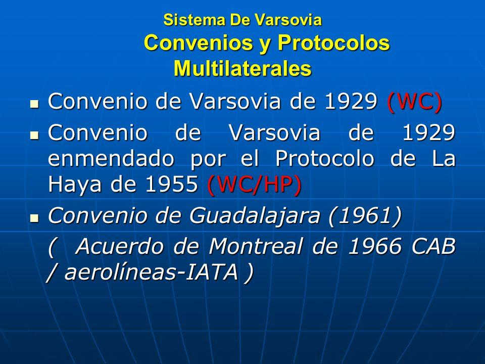Sistema De Varsovia Convenios y Protocolos Multilaterales Convenio de Varsovia de 1929 (WC) Convenio de Varsovia de 1929 (WC) Convenio de Varsovia de 1929 enmendado por el Protocolo de La Haya de 1955 (WC/HP) Convenio de Varsovia de 1929 enmendado por el Protocolo de La Haya de 1955 (WC/HP) Convenio de Guadalajara (1961) Convenio de Guadalajara (1961) ( Acuerdo de Montreal de 1966 CAB / aerolíneas-IATA )